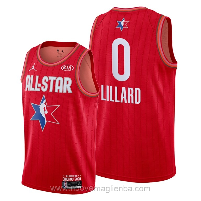 Canotte basket NBA rosso Damian Lillard 2020 All Star