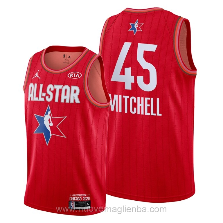 Canotte basket NBA rosso Donovan Mitchell 2020 All Star