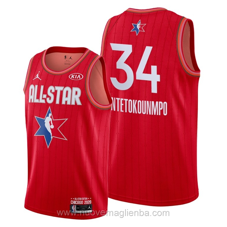 Canotte basket NBA rosso Giannis Antetokounmpo 2020 All Star
