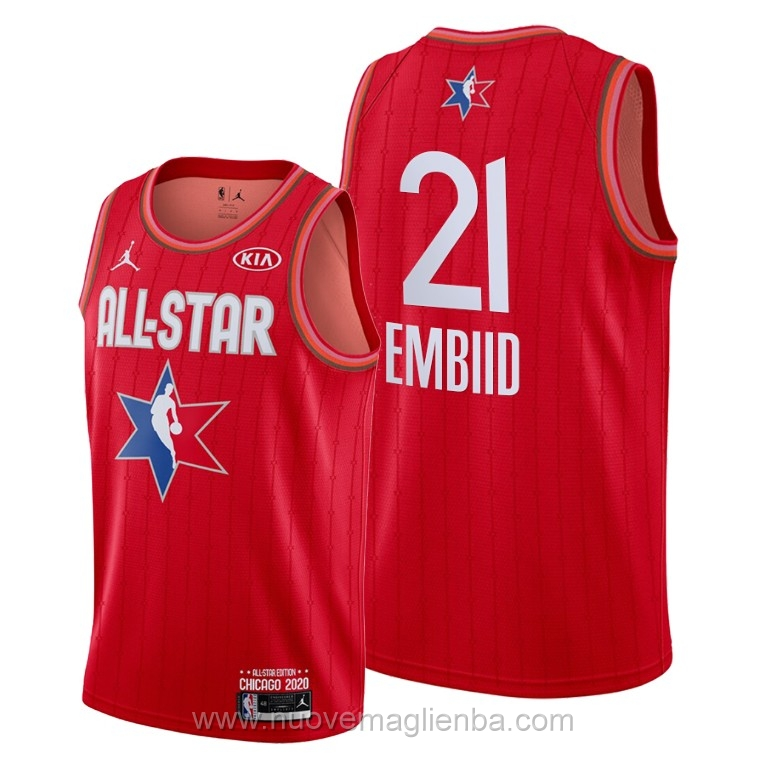 Canotte basket NBA rosso Joel Embiid 2020 All Star