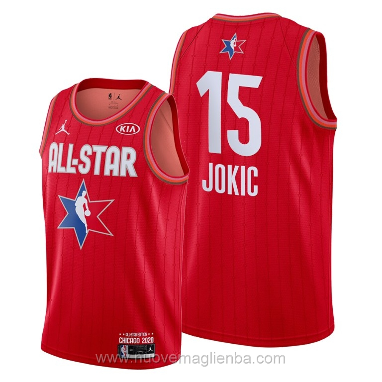 Canotte basket NBA rosso Nikola Jokic 2020 All Star