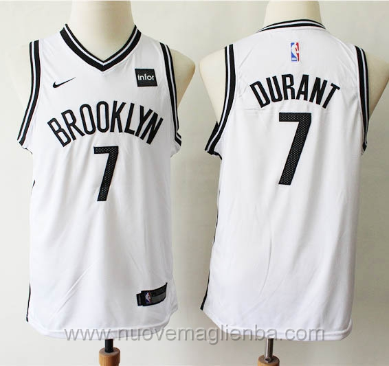 Canotte basket bambini bianco Kevin Durant Brooklyn Nets