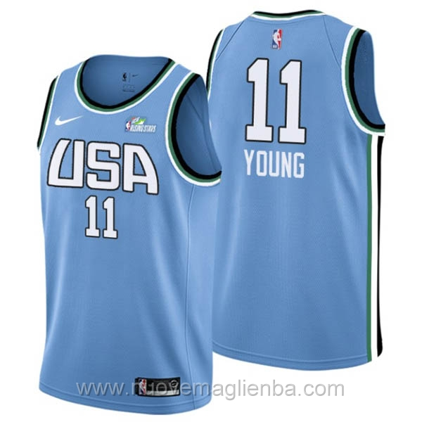 Maglie NBA 2019 All-Star USA Stelle nascenti blu 11 Trae Young