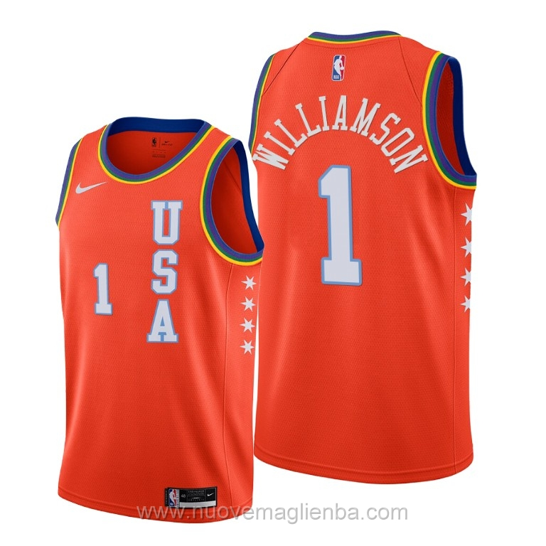 Maglie NBA per nike arancione Zion Williamson 2020 Rising Star