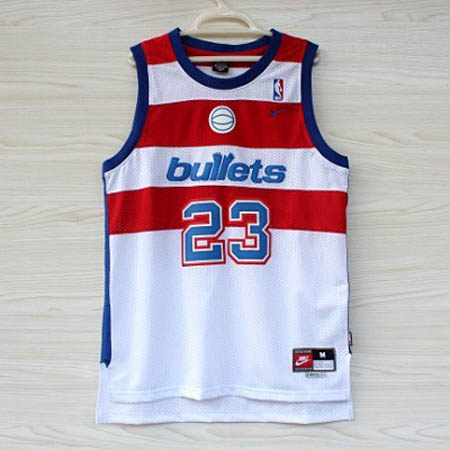 Maglie basket nba bianco Michael Jordan Bullets