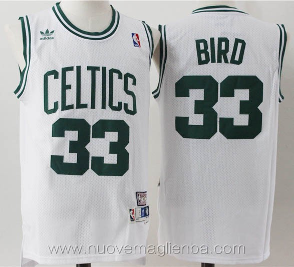 Maillot de basket nba retro blanc Larry Bird Boston Celtics
