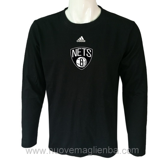 T shirt manica lunga NBA poco prezzo WE003EW nero Brooklyn Nets