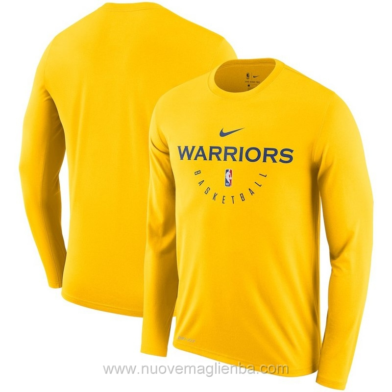 T shirt manica lunga NBA poco prezzo giallo Golden State Warriors