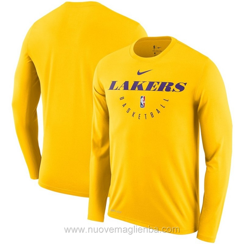 T shirt manica lunga NBA poco prezzo giallo Los Angeles Lakers