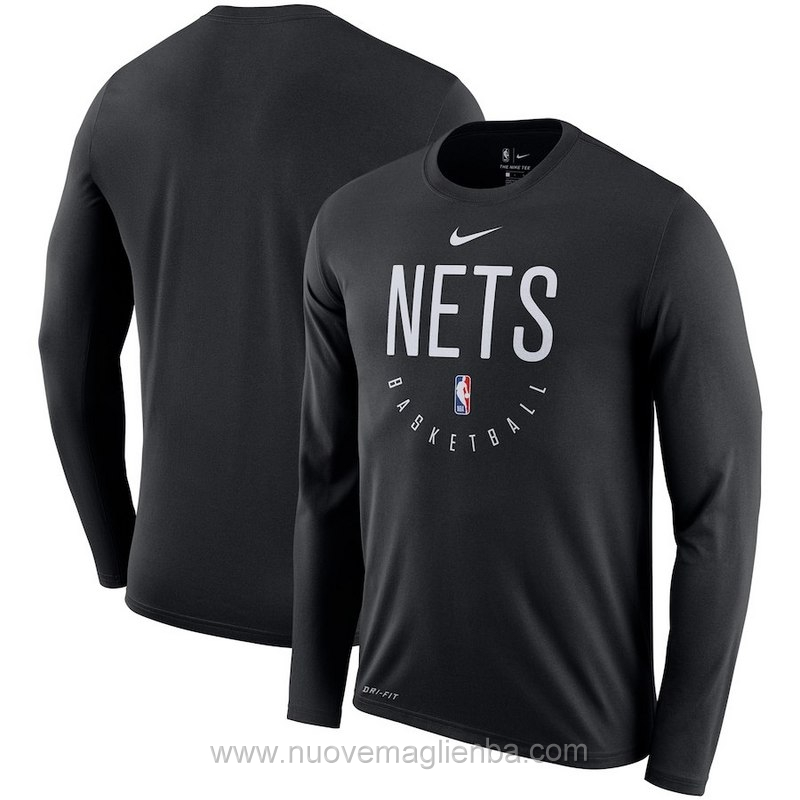 T shirt manica lunga NBA poco prezzo nero Brooklyn Nets