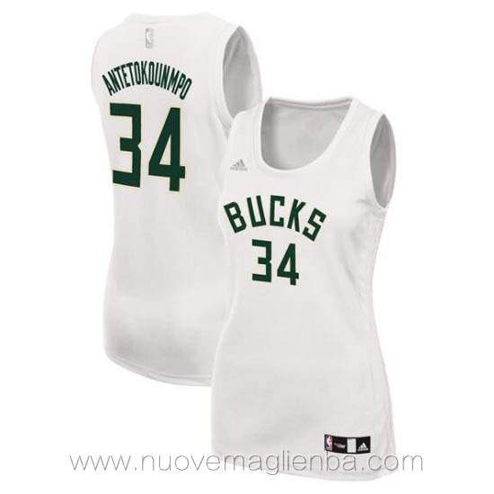 canotta basket donna bianco Giannis Antetokounmpo Milwaukee Bucks