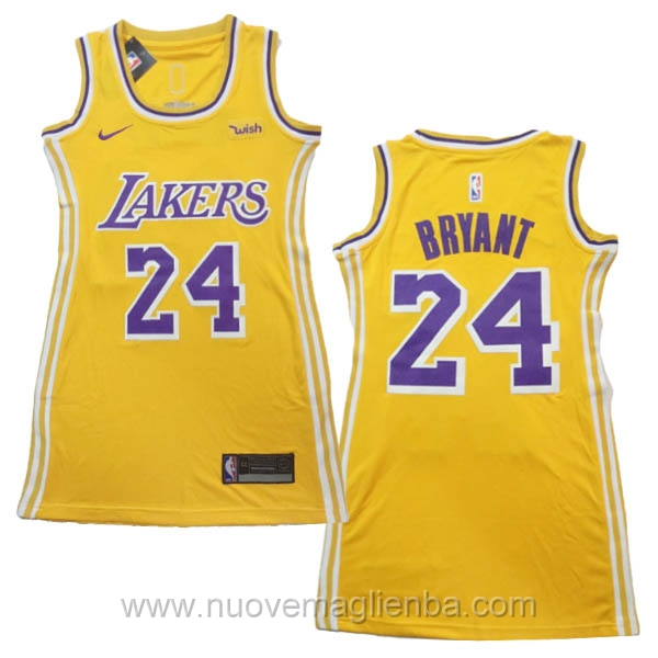 canotta basket donna giallo Kobe Bryant Los Angeles Lakers
