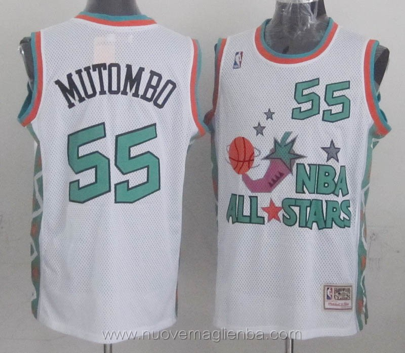 canotte basket NBA bianco Dikembe Mutombo 1996 All Star