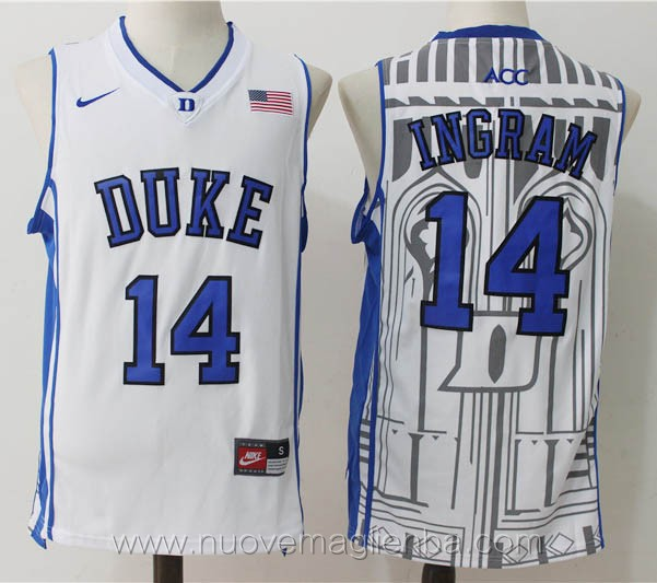 canotte basket NCAA bianco Brandon Ingram Duke University