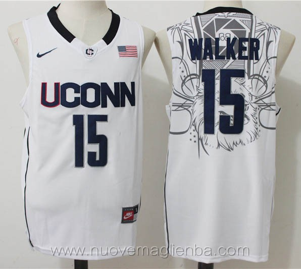 canotte basket NCAA bianco Kemba Walker UConn Huskies