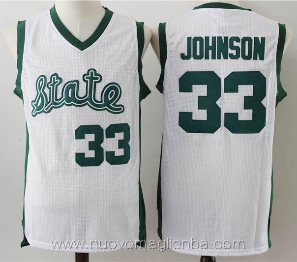 canotte basket NCAA bianco Magic Johnson michigan state spartans