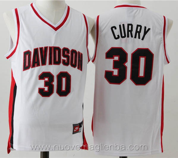 canotte basket NCAA bianco Stephen Curry Davidson College