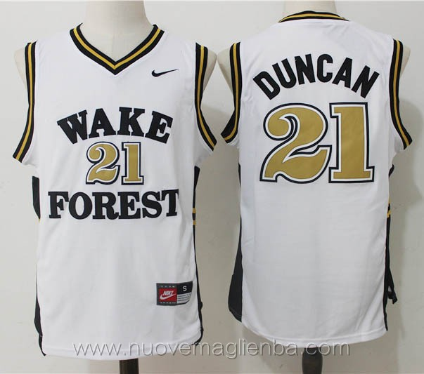 canotte basket NCAA bianco Tim Duncan Wake Forest