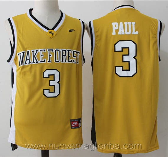 canotte basket NCAA giallo Chris Paul Wake Forest