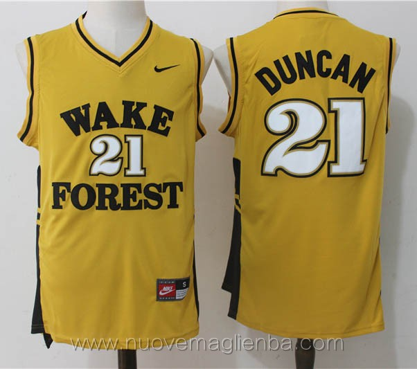 canotte basket NCAA giallo Tim Duncan Wake Forest