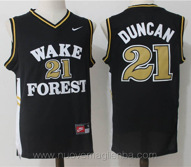 canotte basket NCAA nero Tim Duncan Wake Forest