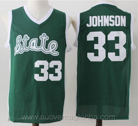 canotte basket NCAA verde Magic Johnson michigan state spartans