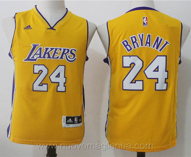 canotte basket bambini giallo Kobe Bryant Los Angeles Lakers