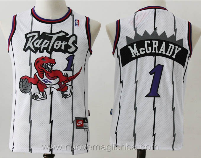 canotte basket bambini retro bainco Tracy McGrady Toronto Raptors