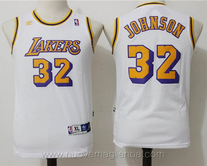 canotte basket bambini retro bianco Magic Johnson Los Angeles Lakers