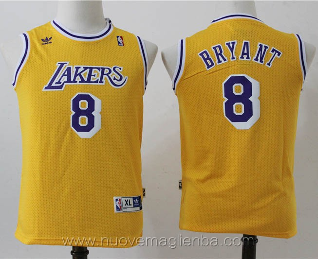 canotte basket bambini retro giallo Kobe Bryant Los Angeles Lakers
