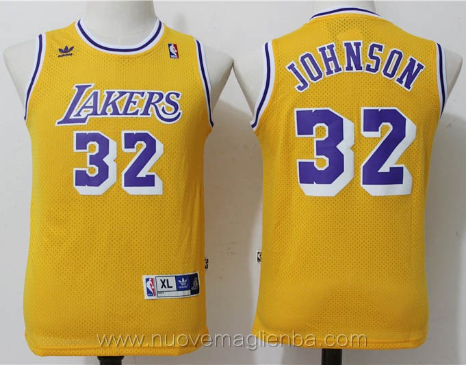 canotte basket bambini retro giallo Magic Johnson Los Angeles Lakers