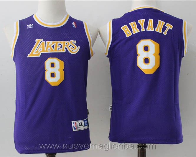 canotte basket bambini retro porpora Kobe Bryant Los Angeles Lakers