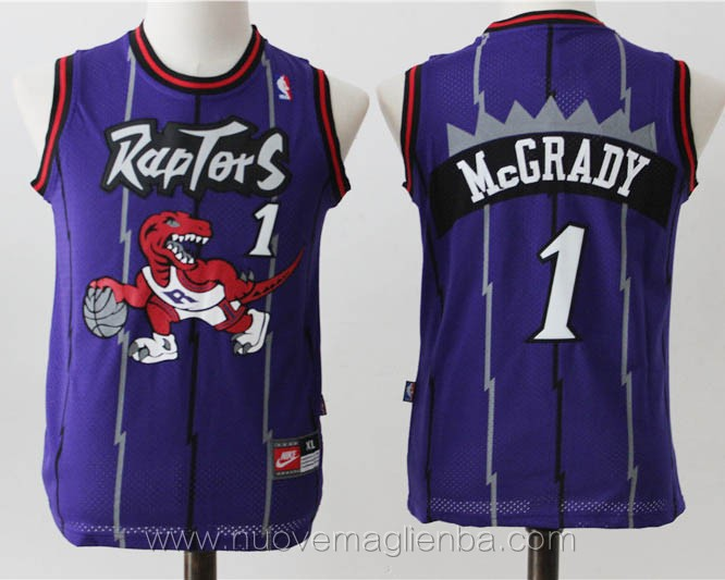 canotte basket bambini retro porpora Tracy McGrady Toronto Raptors