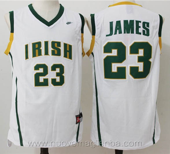 canotte basket bianco LeBron James Dublin Irish High School