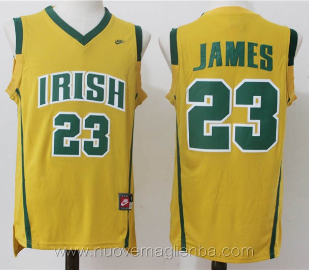 canotte basket giallo LeBron James Dublin Irish High School