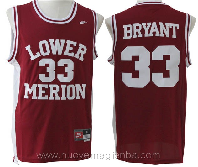 canotte basket rosso Kobe Bryant Lower Merion High School