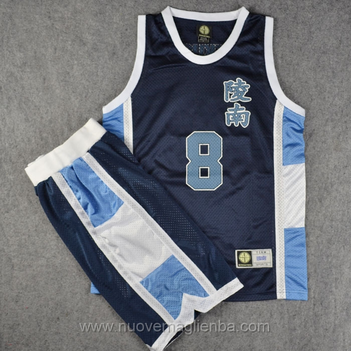 maglie Slam Dunk Blu scuro #8 Tomoyuki Uekusa Ryonan High