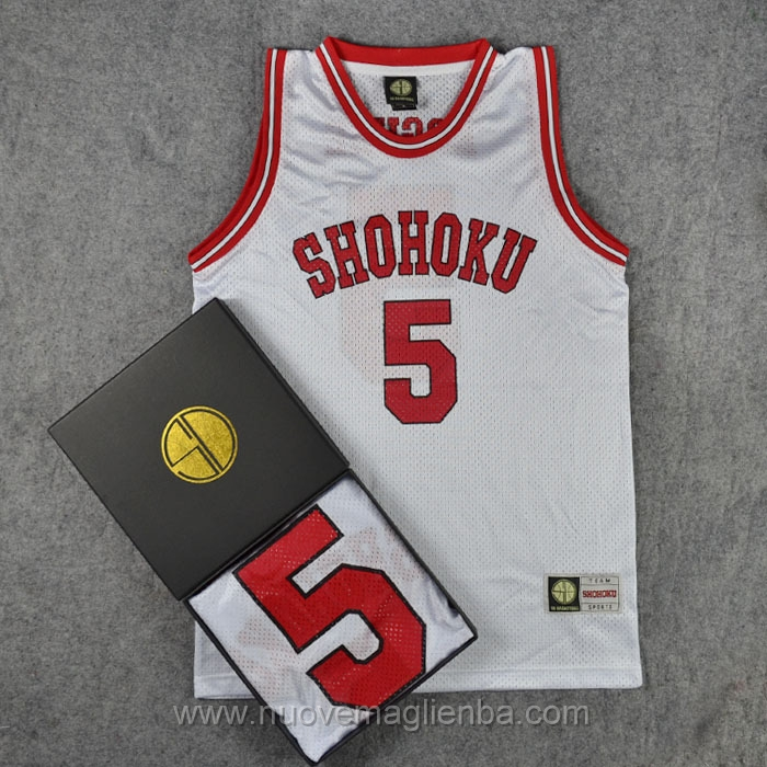 maglie Slam Dunk bianco #5 Kiminobu Kogure Shohoku High