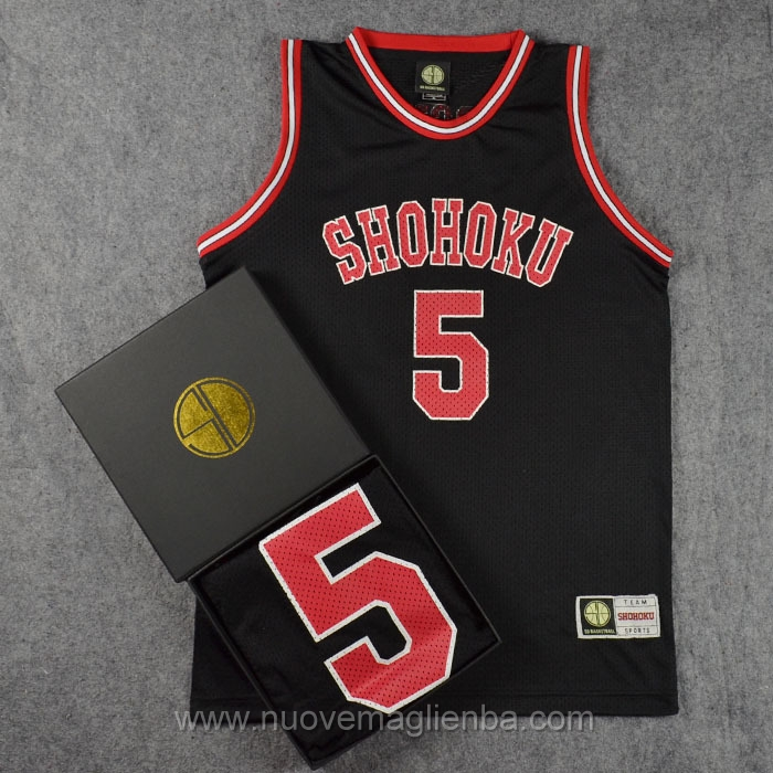 maglie Slam Dunk nero #5 Kiminobu Kogure Shohoku High