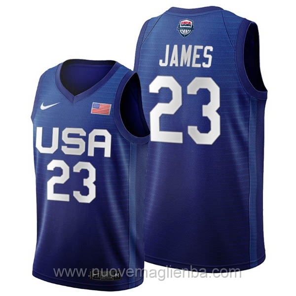 maglie basket USA blu LeBron James 2020