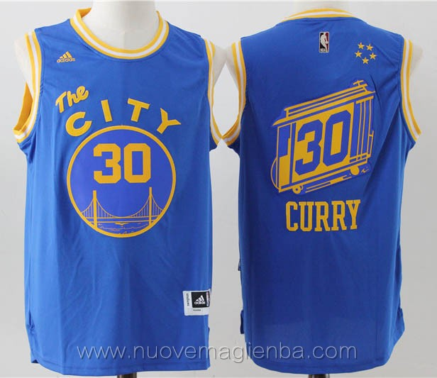 maglie basket basket nba blu Stephen Curry Golden State Warriors versione della citta