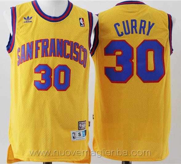 maglie basket basket nba giallo Stephen Curry Golden State Warriors Versione di San Francisco