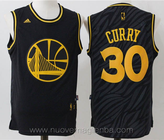 maglie basket basket nba nero Stephen Curry Golden State Warriors Versione Shadow