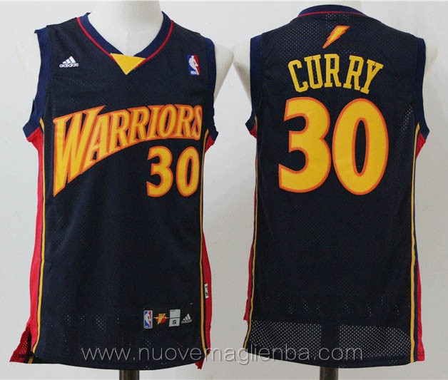 maglie basket basket nba nero Stephen Curry Golden State Warriors Versione lightning