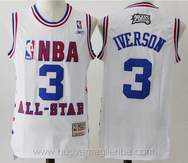 maglie basket nba bianco Allen Iverson Philadelphia 76ers All-Star