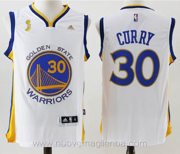maglie basket nba bianco Stephen Curry Golden State Warriors Champion Edition