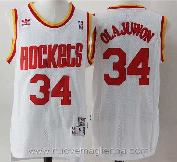 maglie basket nba retro bianco Hakeem Olajuwon Houston Rockets