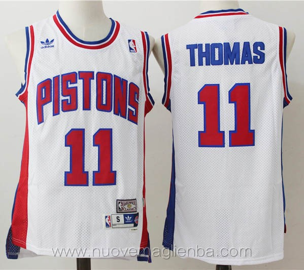 maglie basket nba retro bianco Isiah Thomas Detroit Pistons