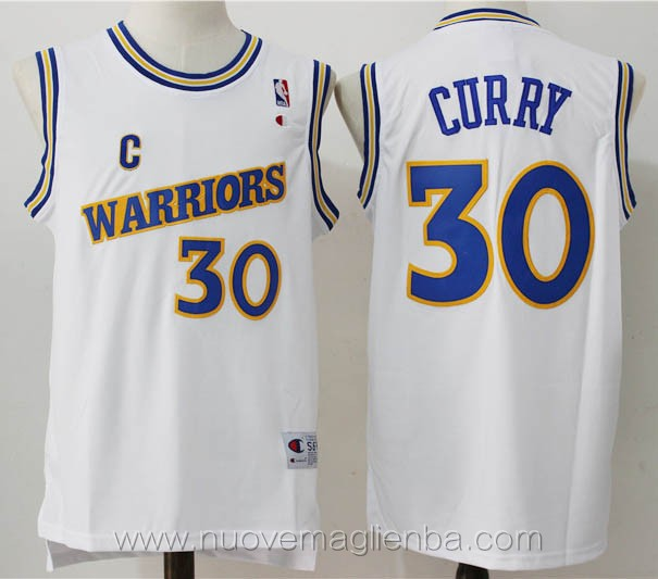 maglie basket nba retro bianco Stephen Curry Golden State Warriors