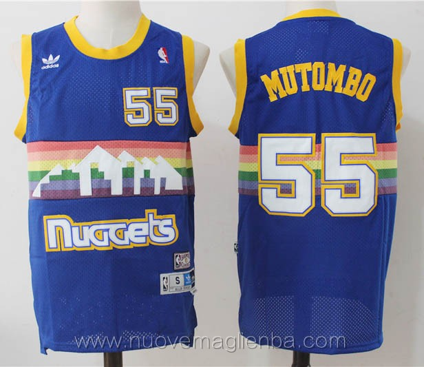 maglie basket nba retro blu Dikembe Mutombo Denver Nuggets rainbow edition